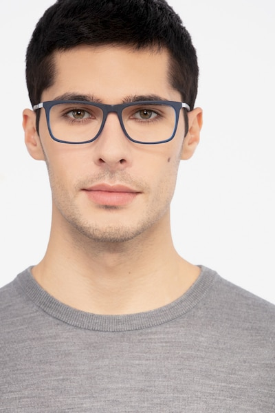 Instance Blue Acetate Eyeglass Frames for Men from EyeBuyDirect, Front View