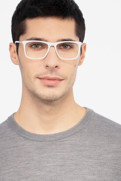 Instance White Metal Eyeglass Frames for Men from EyeBuyDirect, Front View