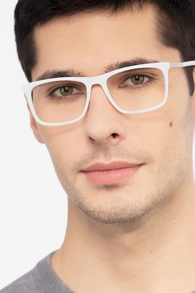 Instance White Acetate Eyeglass Frames for Men from EyeBuyDirect