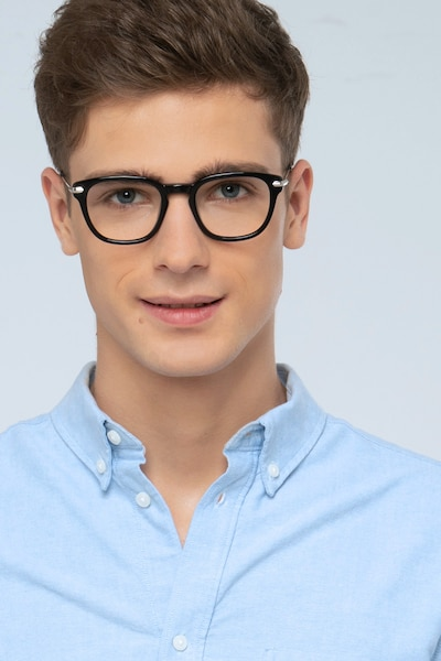Quazar Black Metal Eyeglass Frames for Men from EyeBuyDirect, Front View