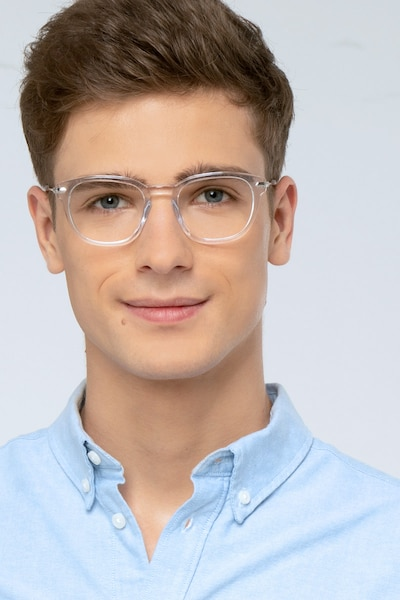 Quazar Clear Acetate Eyeglass Frames for Men from EyeBuyDirect, Front View