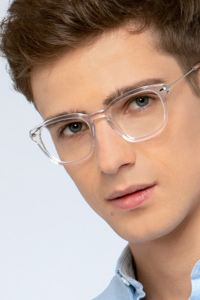 Quazar Clear Acetate Eyeglass Frames for Men from EyeBuyDirect
