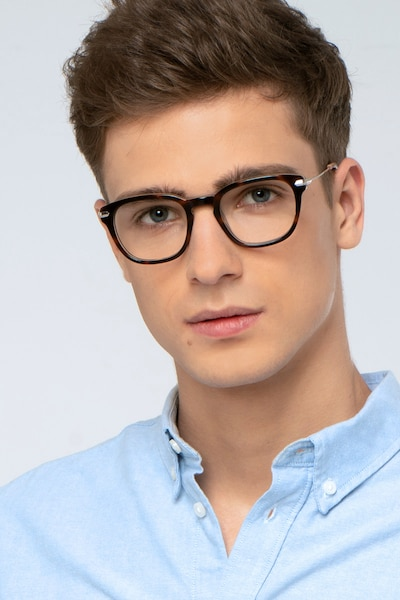 Quazar Tortoise Acetate Eyeglass Frames for Men from EyeBuyDirect, Front View