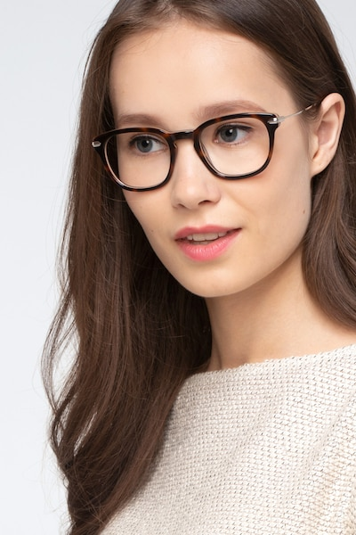 Quazar Tortoise Acetate Eyeglass Frames for Women from EyeBuyDirect, Front View