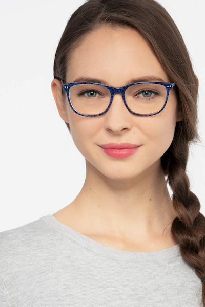 Grid Blue Acetate Eyeglass Frames for Women from EyeBuyDirect, Front View