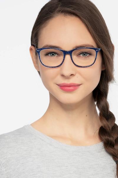 Grid Bleu Acétate Montures de Lunettes pour Femmes d'EyeBuyDirect, Vue de Face