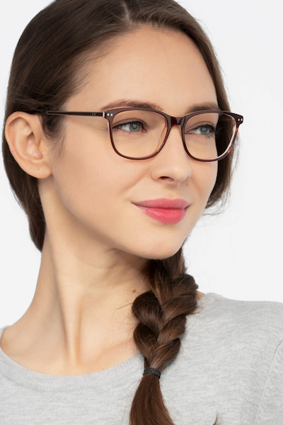 Grid Brown Acetate Eyeglass Frames for Women from EyeBuyDirect, Front View
