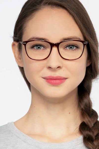 Grid Brown Acetate Eyeglass Frames for Women from EyeBuyDirect