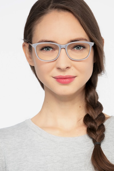 Grid Gray Acetate Eyeglass Frames for Women from EyeBuyDirect, Front View