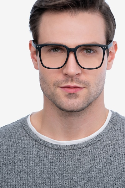 Piano Black Plastic Eyeglass Frames for Men from EyeBuyDirect, Front View