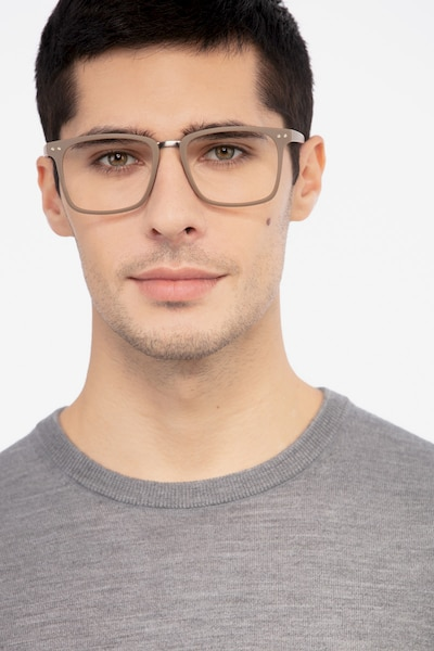 Forte Brown Plastic Eyeglass Frames for Men from EyeBuyDirect, Front View
