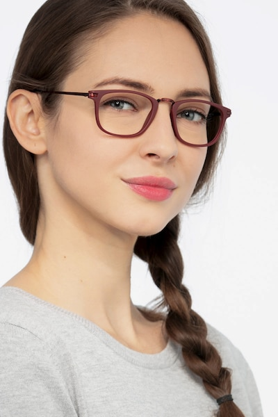 Catcher Burgundy Metal Eyeglass Frames for Women from EyeBuyDirect, Front View