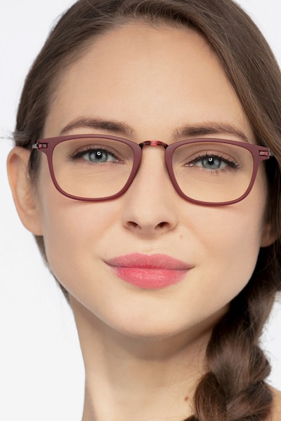 Catcher Burgundy Metal Eyeglass Frames for Women from EyeBuyDirect