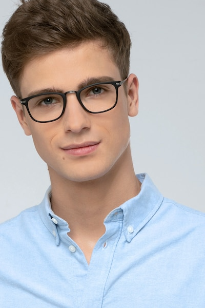 Catcher Black Metal Eyeglass Frames for Men from EyeBuyDirect, Front View