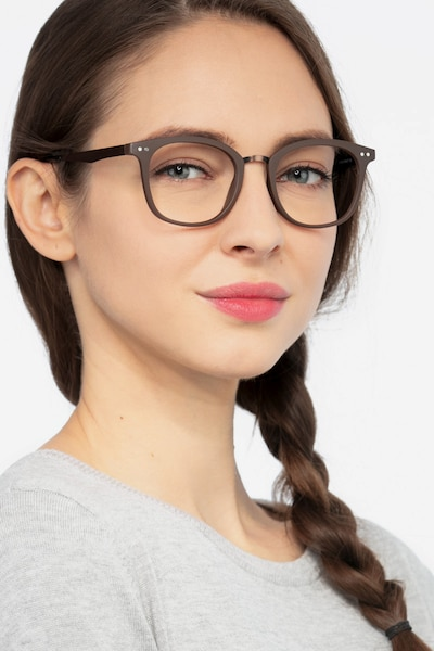 Lyric Brown Plastic Eyeglass Frames for Women from EyeBuyDirect, Front View