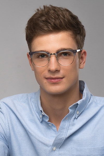 Borderline Gray Metal Eyeglass Frames for Men from EyeBuyDirect, Front View