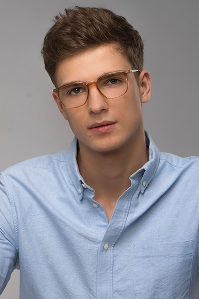 Ghostwriter Clear Orange Plastic Eyeglass Frames for Men from EyeBuyDirect, Front View