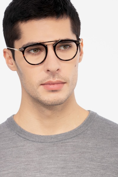 Alba Tortoise Metal Eyeglass Frames for Men from EyeBuyDirect, Front View