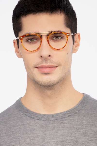 Alba Light Tortoise Metal Eyeglass Frames for Men from EyeBuyDirect, Front View