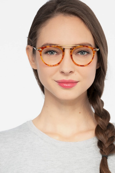 Alba Light Tortoise Metal Eyeglass Frames for Women from EyeBuyDirect, Front View