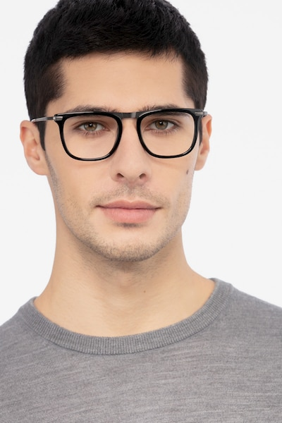 Kompa Black Acetate Eyeglass Frames for Men from EyeBuyDirect, Front View