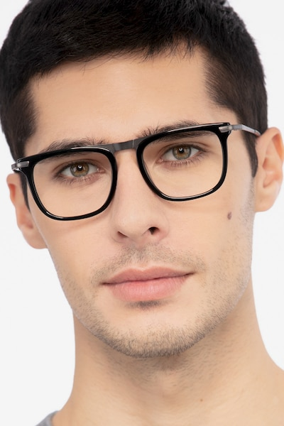 Kompa Black Metal Eyeglass Frames for Men from EyeBuyDirect