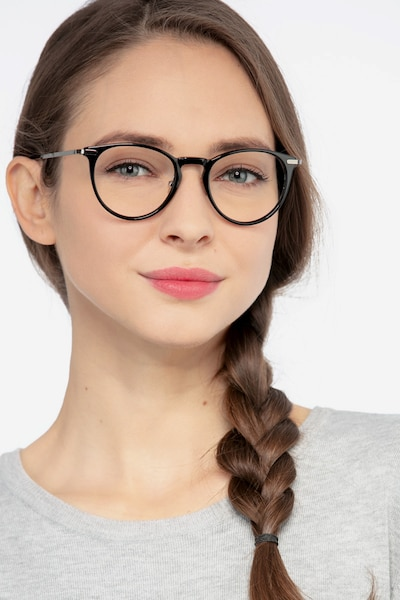 Iris Black Acetate Eyeglass Frames for Women from EyeBuyDirect, Front View