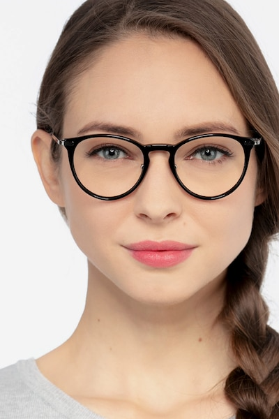 Iris Black Acetate Eyeglass Frames for Women from EyeBuyDirect