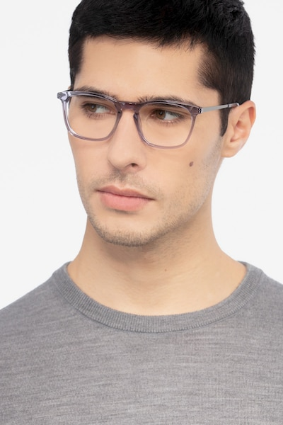 Tuesday Gray Acetate Eyeglass Frames for Men from EyeBuyDirect, Front View