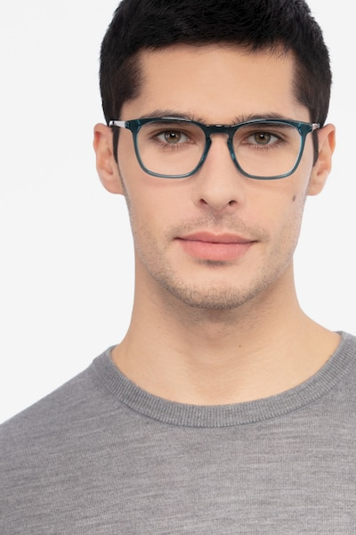 Tuesday Green Acetate Eyeglass Frames for Men from EyeBuyDirect, Front View