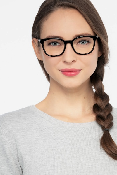 Kat Black Acetate Eyeglass Frames for Women from EyeBuyDirect, Front View