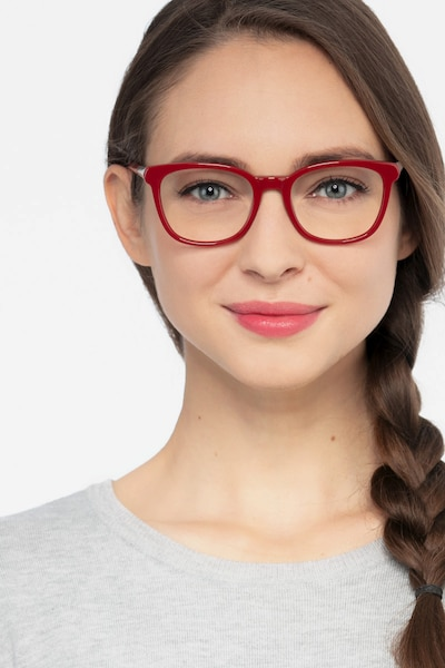 Kat Burgundy Acetate Eyeglass Frames for Women from EyeBuyDirect, Front View