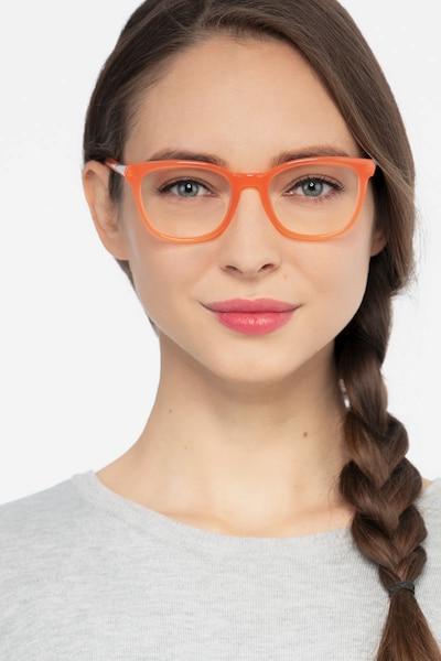Kat Orange Acetate Eyeglass Frames for Women from EyeBuyDirect, Front View