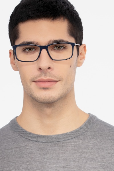 Marvel Blue Acetate Eyeglass Frames for Men from EyeBuyDirect, Front View