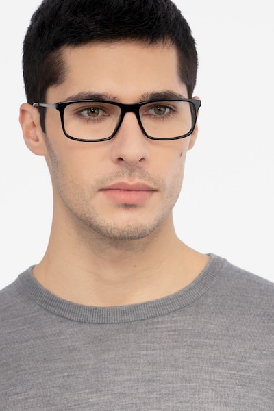 Marvel Black Metal Eyeglass Frames for Men from EyeBuyDirect, Front View