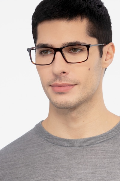 Marvel Tortoise Acetate Eyeglass Frames for Men from EyeBuyDirect, Front View