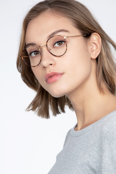 Alchemist Tortoise Metal Eyeglass Frames for Women from EyeBuyDirect, Front View