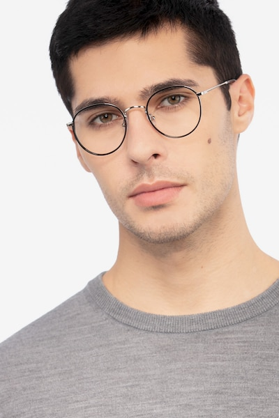 Alchemist Black Acetate-metal Eyeglass Frames for Men from EyeBuyDirect, Front View