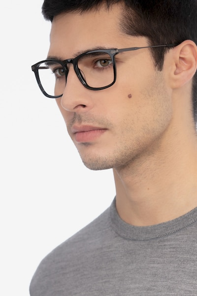 Glory Black Acetate Eyeglass Frames for Men from EyeBuyDirect, Front View