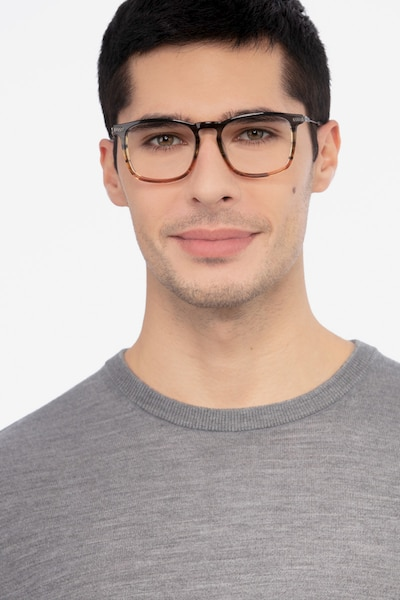 Glory Gray Striped Acetate-metal Eyeglass Frames for Men from EyeBuyDirect, Front View