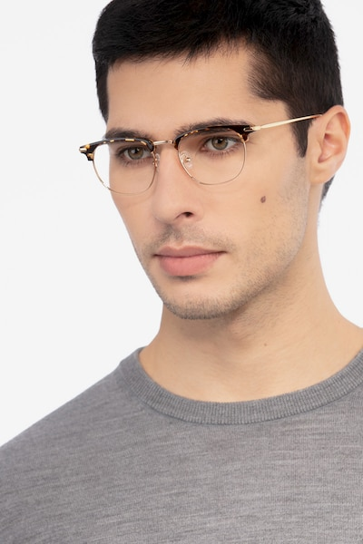 Relive Tortoise Golden Acetate Eyeglass Frames for Men from EyeBuyDirect, Front View