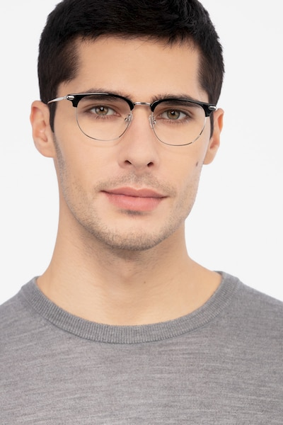 Relive Black Silver Metal Eyeglass Frames for Men from EyeBuyDirect, Front View