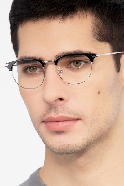 Relive Black Silver Acetate Eyeglass Frames for Men from EyeBuyDirect