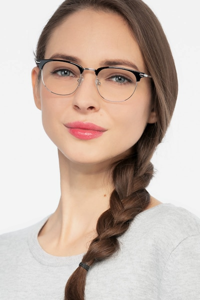Relive Black Silver Acetate Eyeglass Frames for Women from EyeBuyDirect, Front View