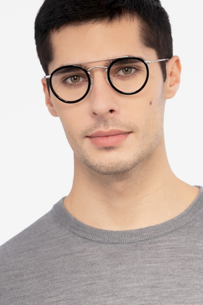 Architect Black Silver Acetate Eyeglass Frames for Men from EyeBuyDirect, Front View