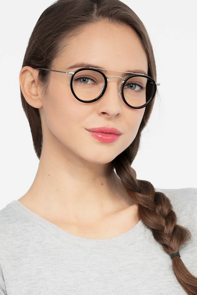 Architect Black Silver Acetate Eyeglass Frames for Women from EyeBuyDirect, Front View