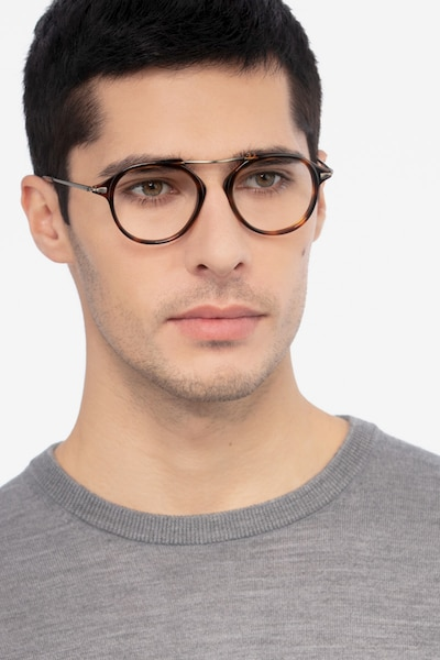 Terminal One Tortoise Bronze Acetate Eyeglass Frames for Men from EyeBuyDirect, Front View