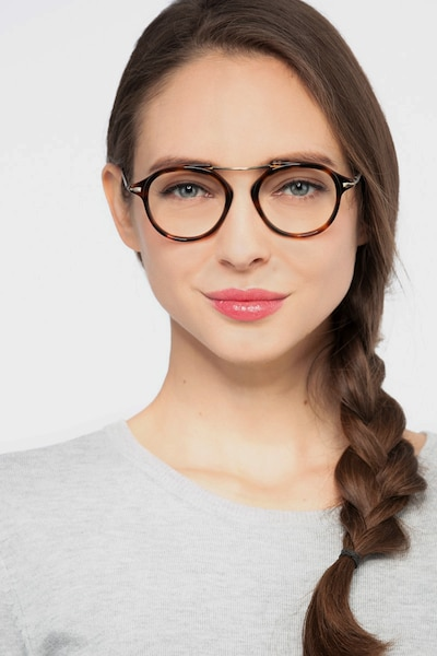 Terminal One Tortoise Bronze Acetate Eyeglass Frames for Women from EyeBuyDirect, Front View
