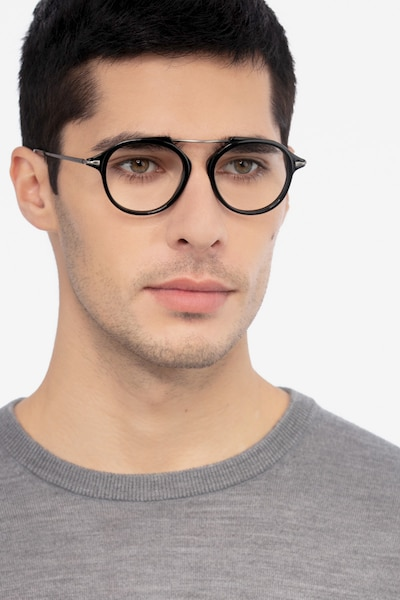 Terminal One Black Gunmetal Acetate Eyeglass Frames for Men from EyeBuyDirect, Front View