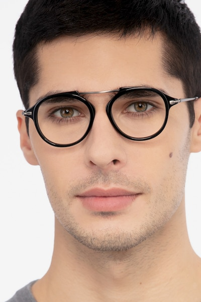 Terminal One Black Gunmetal Acetate Eyeglass Frames for Men from EyeBuyDirect